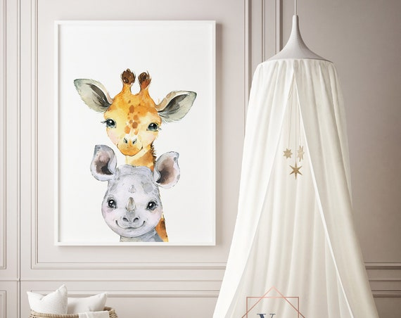Giraffe and Rhino Watercolor Animal Print- Nursery Decor Print Wall Art Baby Girl - Boy Room Printable Decor - DIGITAL DOWNLOAD