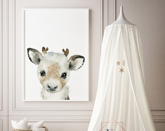 Reindeer Watercolor Animal Print- Nursery Decor Print Wall Art Baby Girl - Boy Room Printable Decor - DIGITAL DOWNLOAD
