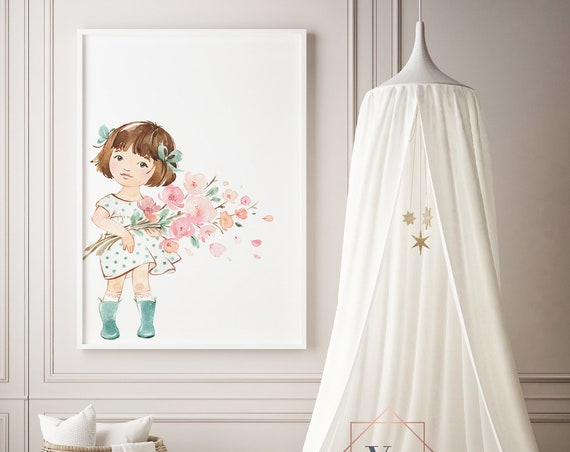 Sakura Flower Bouquet Girl Watercolor Print- Nursery Decor Print Wall Art Baby Girl - Boy Room Printable Decor - DIGITAL DOWNLOAD