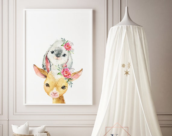 Goat and Bunny Watercolor Animal Print- Nursery Decor Print Wall Art Baby Girl - Boy Room Printable Decor - DIGITAL DOWNLOAD