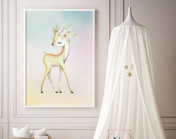 Deer Flower Crown Watercolor Animal Print- Nursery Decor Print Wall Art Baby Girl - Boy Room Printable Home Decor - DIGITAL DOWNLOAD