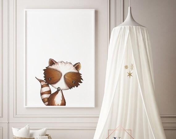 Raccoon Print - Nursery Print - Watercolor Baby Girl / Boy Room - DIGITAL DOWNLOAD
