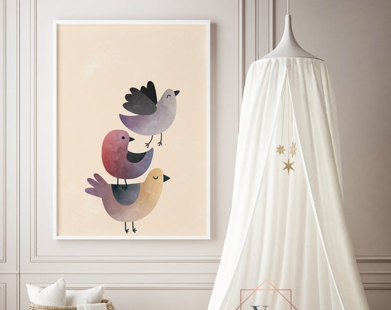 8 x 10 Bird Tower Watercolor Birds - Boho Nursery Decor Print Wall Art Watercolor Baby Girl - Boy Room Printable - DIGITAL DOWNLOAD