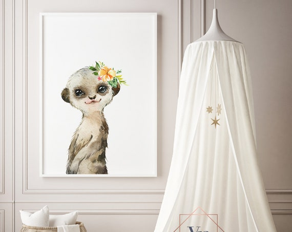 Meerkat Flowers Watercolor Animal Print- Nursery Decor Print Wall Art Baby Girl - Boy Room Printable Decor - DIGITAL DOWNLOAD