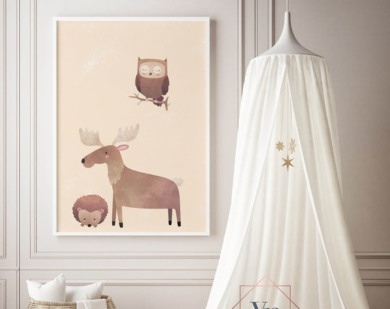 8 x 10 Hedgehog Moose and Owl - Boho Nursery Decor Print Wall Art Home Decor Baby Girl - Boy Room Printable - DIGITAL DOWNLOAD