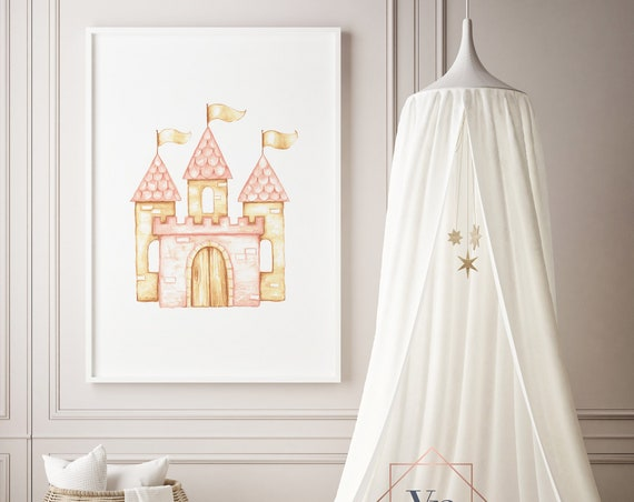 Princess Castle Watercolor Print- Boho Nursery Decor Print Wall Art Baby Childrens Room Printable Decor - DIGITAL DOWNLOAD