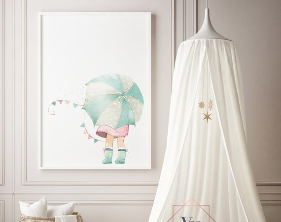 Umbrella Girl Watercolor Print- Nursery Decor Print Wall Art Baby Girl - Boy Room Printable Decor - DIGITAL DOWNLOAD