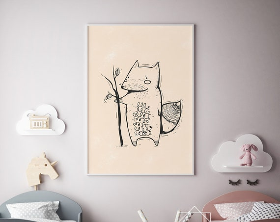 Fox Drawing Animal Print- Nursery Decor Print Wall Art Baby Girl - Boy Room Printable Home Decor - DIGITAL DOWNLOAD