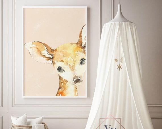 Little Peekaboo Deer - Boho Nursery Decor Print Wall Art Watercolor Baby Girl Room Printable Decor - DIGITAL DOWNLOAD