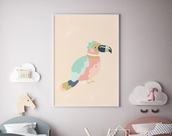 Pastel Tropical Bird Animal Print- Nursery Decor Print Wall Art Baby Girl - Boy Room Printable Home Decor - DIGITAL DOWNLOAD