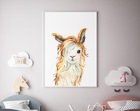 8 x 10 Llama Watercolor Print- Nursery Decor, Baby Animal Wall Art Baby Girl - Boy Printable Decor - DIGITAL DOWNLOAD