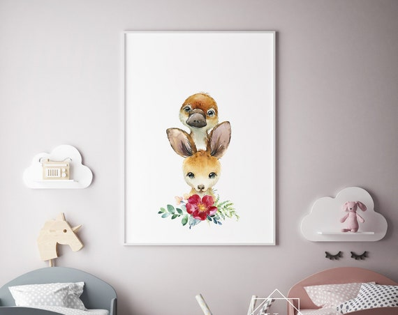 Kangaroo and Platypus Flower Wreath Watercolor Print- Nursery Decor Print Wall Art Baby Girl - Boy Room Printable Decor - DIGITAL DOWNLOAD