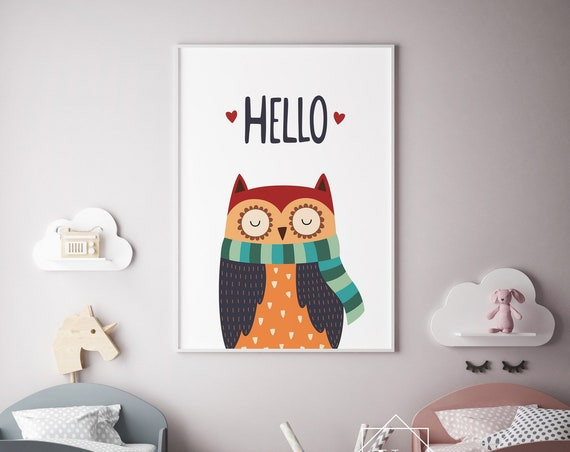 Hello Winter Owl Nursery Print- Nursery Decor Print Wall Art Baby Girl - Boy Room Printable Decor - DIGITAL DOWNLOAD