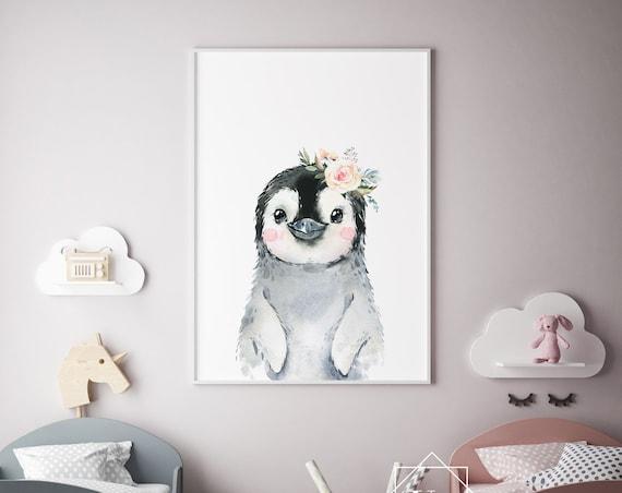 Penguin With Flowers Watercolor Print- Nursery Animal, Baby Animal, Print Wall Art Baby Girl - Boy Room Printable Decor - DIGITAL DOWNLOAD
