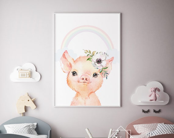 Pig Flower Rainbow Animal Print- Nursery Decor Print Wall Art Baby Girl - Boy Room Printable Home Decor - DIGITAL DOWNLOAD