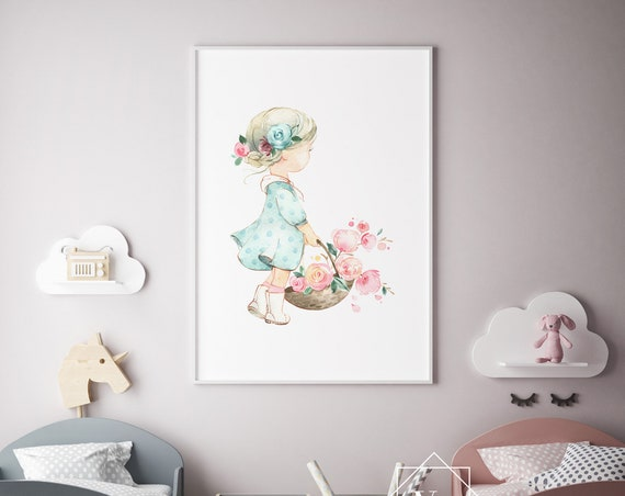 Girl With Flower Basket Watercolor Print- Nursery Decor Print Wall Art Baby Girl - Boy Room Printable Decor - DIGITAL DOWNLOAD