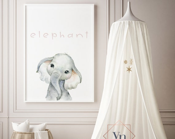 Elephant Watercolor Animal Print- Nursery Decor Print Wall Art Baby Girl - Boy Room Printable Decor - DIGITAL DOWNLOAD