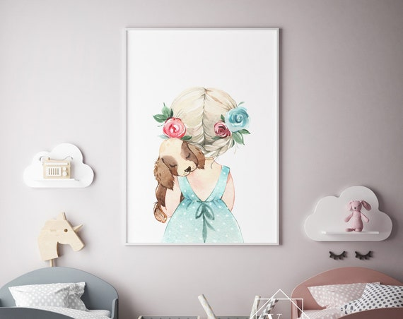 Girl With Her Puppy Watercolor Print- Nursery Decor Print Wall Art Baby Girl - Boy Room Printable Decor - DIGITAL DOWNLOAD