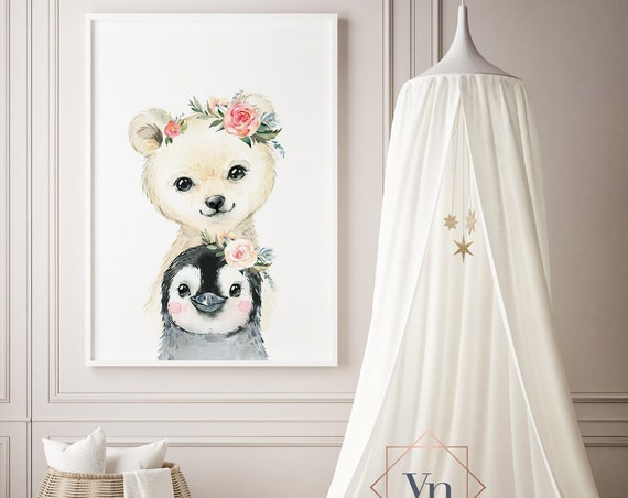 Polar Bear and Penguin Watercolor Animal Print- Nursery Decor Print Wall Art Baby Girl - Boy Room Printable Decor - DIGITAL DOWNLOAD