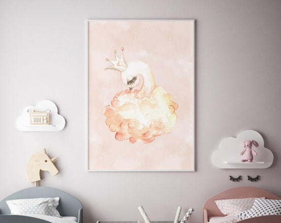 8 x 10 Baby Swan with Crown - Boho Nursery Decor Print Wall Art Watercolor Baby Girl Room Printable - DIGITAL DOWNLOAD