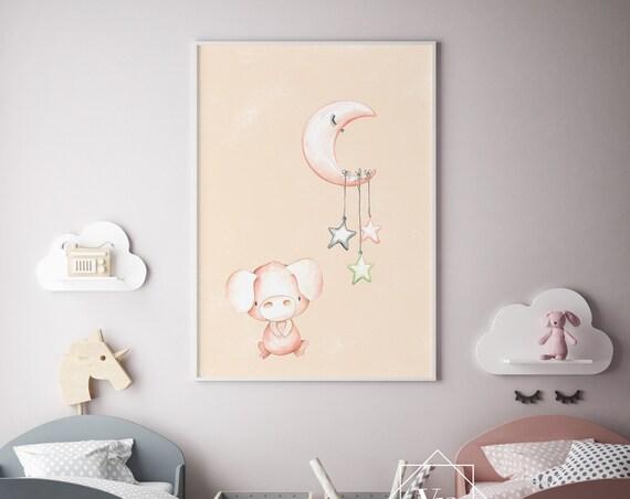 Pig and Moon Watercolor Animal Print- Nursery Decor Print Wall Art Baby Girl - Boy Room Printable Home Decor - DIGITAL DOWNLOAD