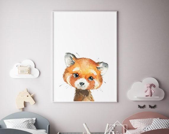 Red Panda Animal Print- Nursery Decor Print Wall Art Baby Girl - Boy Room Printable Home Decor - DIGITAL DOWNLOAD