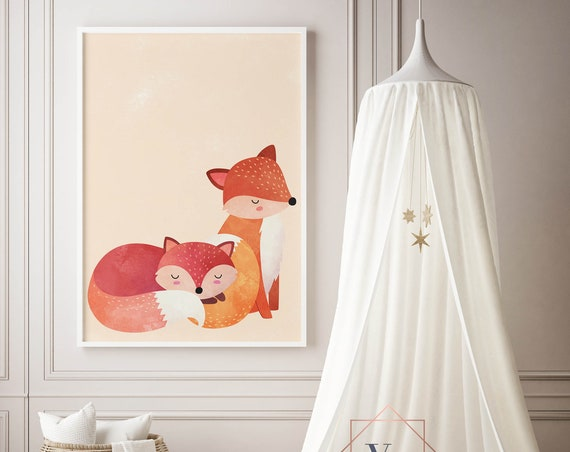 8 x 10 Two Red Foxes  - Fox Boho Nursery Decor Print Wall Art Home Decor Baby Girl - Boy Room Printable - DIGITAL DOWNLOAD
