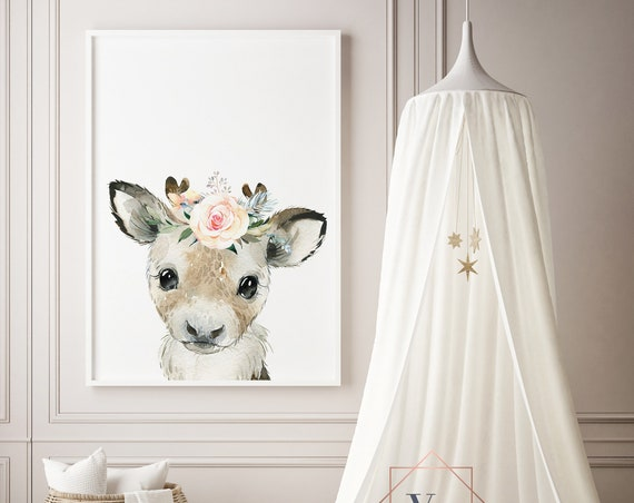 Reindeer Flower Crown Watercolor Animal Print- Nursery Decor Print Wall Art Baby Girl - Boy Room Printable Decor - DIGITAL DOWNLOAD