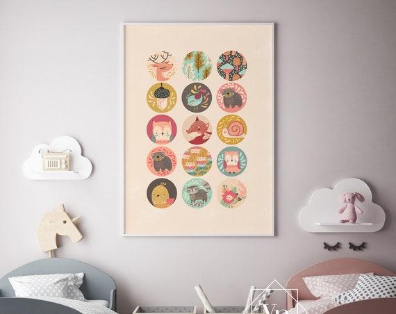 Woodland Chalk Animal Print- Nursery Decor Print Wall Art Baby Girl - Boy Room Printable Home Decor - DIGITAL DOWNLOAD