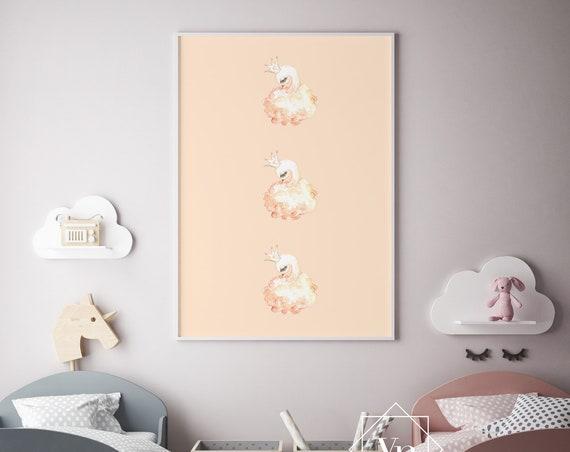 Little Swans Watercolor Animal Print- Nursery Decor Print Wall Art Baby Girl - Boy Room Printable Decor - DIGITAL DOWNLOAD