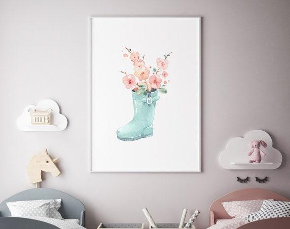 Sakura Boot Flower Watercolor Print - Boho Nursery Decor Print Wall Art Baby Girl - Boy Room Printable Decor - DIGITAL DOWNLOAD
