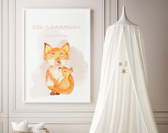 Custom Name Fox Mama & Baby Watercolor Art Baby Nursery Print - DIGITAL FILE - JPEG - Baby Shower Gift - Nursery Room Decor Poster