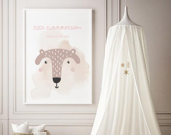 Custom Name Animal Head Watercolor Art Baby Nursery Print - DIGITAL FILE - JPEG - Baby Shower Gift - Nursery Room Decor Poster