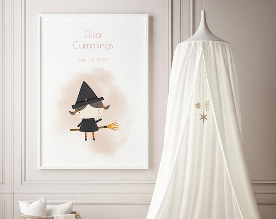 Custom Baby Name Halloween Witch Girl Art Baby Nursery Print - DIGITAL FILE - JPEG - Baby Shower Gift - Nursery Room Decor Poster
