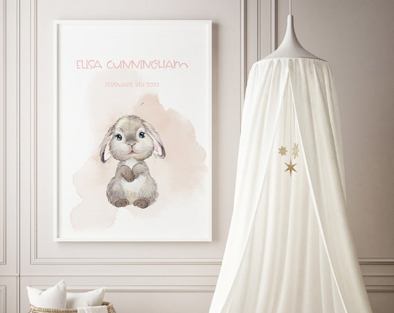 Custom Name Little Bunny 2 Watercolor Art Baby Nursery Print - DIGITAL FILE - JPEG - Baby Shower Gift - Nursery Room Decor Poster