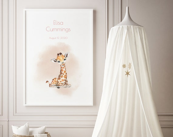 Custom Baby Name Giraffe Watercolor Art Baby Nursery Print - DIGITAL FILE - JPEG - Baby Shower Gift - Nursery Room Decor Poster