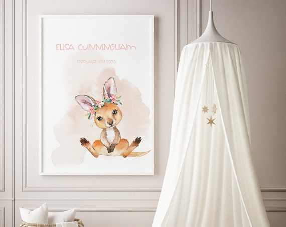 Custom Name Kangaroo Watercolor Art Baby Nursery Print - DIGITAL FILE - JPEG - Baby Shower Gift - Nursery Room Decor Poster