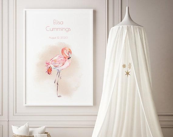 Custom Baby Name Flamingo Watercolor Bird Animal Art Baby Nursery Print - DIGITAL FILE - JPEG - Baby Shower Gift - Nursery Room Decor Poster