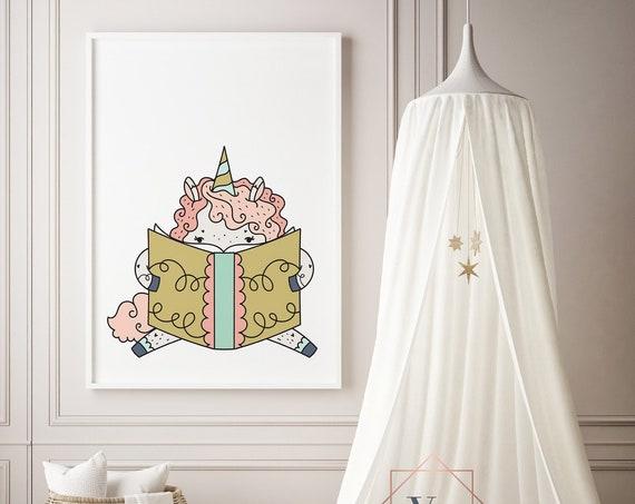 16 x 20 Bookwurm Unicorn 2 Animal Print- Boho Nursery Decor Print Wall Art Baby Girl - Boy Room Printable Decor - DIGITAL DOWNLOAD
