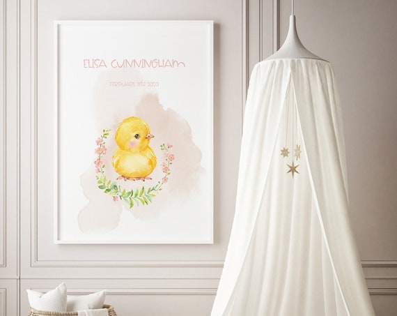 Custom Name Little Chick Flower Wreath Watercolor Art Baby Nursery Print - DIGITAL FILE - JPEG - Baby Shower Gift - Nursery Room Decor