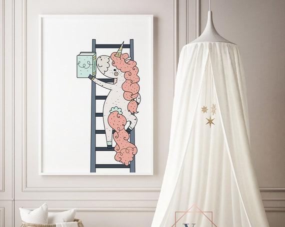 16 x 20 Bookwurm Unicorn 3 Animal Print- Boho Nursery Decor Print Wall Art Baby Girl - Boy Room Printable Decor - DIGITAL DOWNLOAD