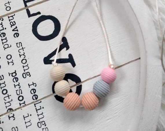 Nursing Teething Necklace - Candy - Silicone Beads - Teether Chewing Beads- Silicone Necklace