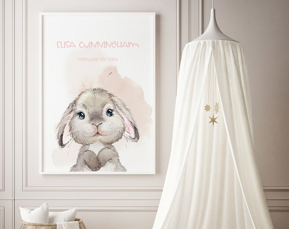 Custom Name Little Bunny Watercolor Art Baby Nursery Print - DIGITAL FILE - JPEG - Baby Shower Gift - Nursery Room Decor Poster