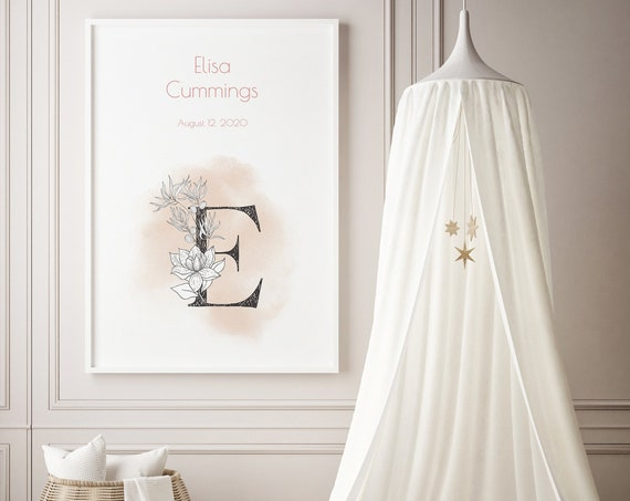 Custom Baby Name Floral Monogram Art Baby Nursery Print - DIGITAL FILE - JPEG - Baby Shower Gift - Nursery Room Decor Poster