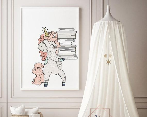 16 x 20 Bookwurm Unicorn Animal Print- Boho Nursery Decor Print Wall Art Baby Girl - Boy Room Printable Decor - DIGITAL DOWNLOAD