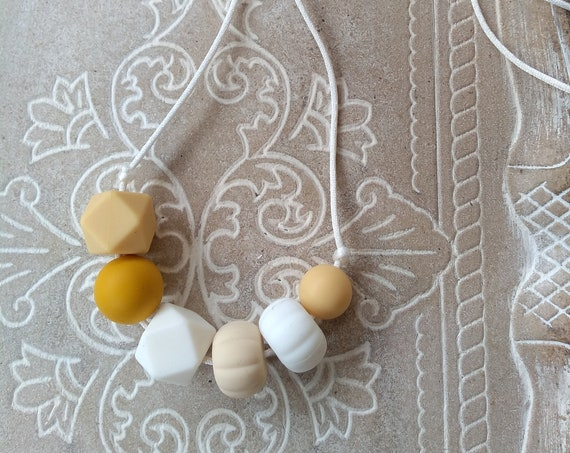 Nursing Teething Necklace - Forest - Silicone Beads - Teether Chewing Beads- Silicone Necklace