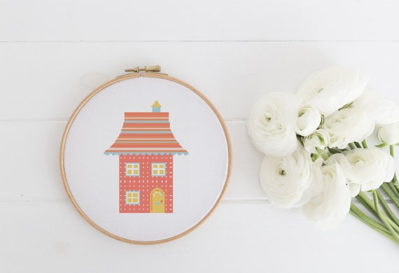 Rainbow House Home - Modern Boho Chart Cross Stitch Pattern - Modern Cross Stitch - Childrens Decor Nursery - Instant Download -