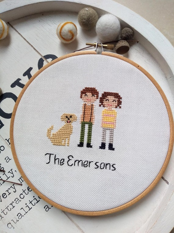 2 Person + 1 Pet Custom Family Portrait - Cross Stitch - Personalised Portrait Anniversary Wedding Holiday Mothers Day Gift