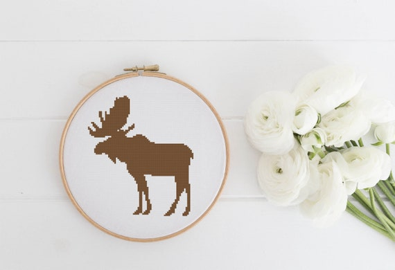 Monochrome Elk Silhouette - Cross Stitch Pattern - Modern Cross Stitch - Childrens Decor Nursery - Instant Download -