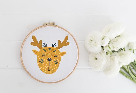 Tribal Deer Portrait Easy Beginner Pattern - Cross Stitch Pattern - Modern Cross Stitch - Childrens Decor Nursery - Instant Download